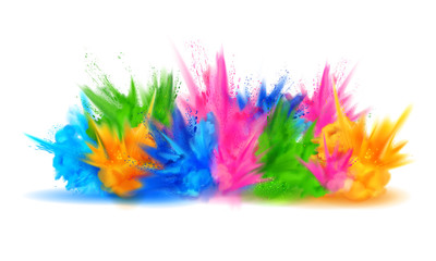 Wall Mural - colorful Happy Holi background for color festival of India celebration greetings