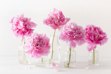 Wall Mural - beautiful pink peony flowers bouquet in vase