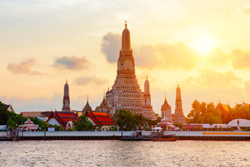 "Famous Wat Arun or ""Temple of Dawn""."