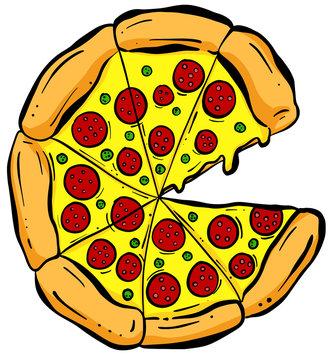 Cartoon Cheesy Pizza Slices Vector