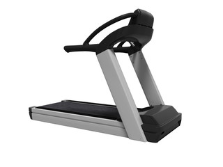Modern sports treadmill for training in the gym 3d render on white background no shadow
