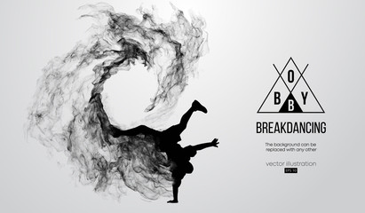 Abstract silhouette of a breakdancer, man, bboy, breaker, breaking on the white background from particles, dust, smoke. Hip-hop dancer. Background can be changed to any other. Vector illustration