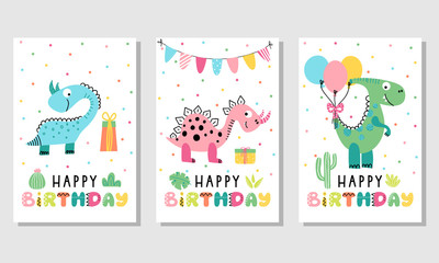 Birthday card set with cute dinosaurs