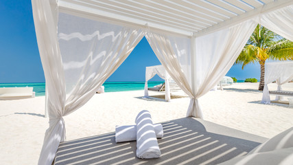Wall Mural - Serenity beach background, luxury beach canopy and travel or summer vacation concept