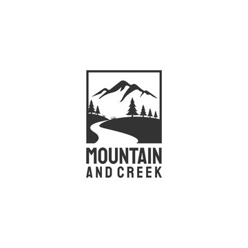 mountain and creeks or river logo designs