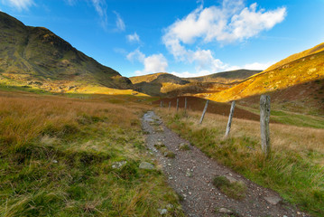 mountain footpath in the lake district cumbria
