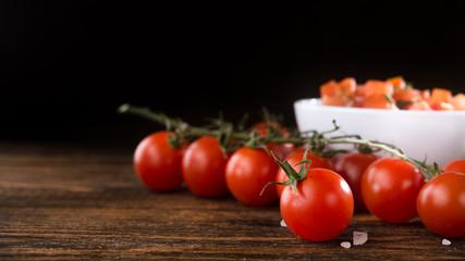 Fresh tomato with salsa sauce