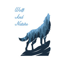 wolf and nature illustration designs
