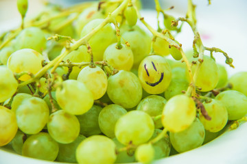 Green grapes with a smile. Fresh fruits and berries. Grape bunches on the plate.