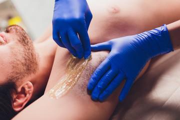 men sugaring hair removal armpit salon male.