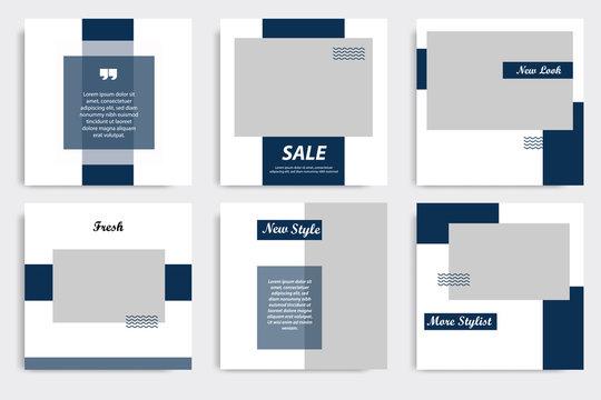 Editable square Memphis geometric banner template. Minimalist design background in dark blue indigo color. Vector illustration. Suitable for social media post and cover, web internet brochure.