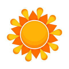 Bright sun drawing flat icon. Decorative element, pattern, design. Sun concept. Vector illustration can be used for topics like weather, season, art