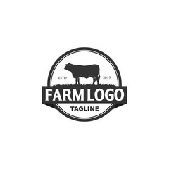 Vintage Angus Cattle Beef logo design inspiration -
