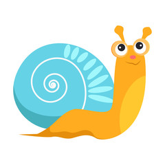 Smiling snail with blue shell flat icon. Book character, sea life, garden animal. Mollusk concept. Vector illustration can be used for topics like zoology, nature, fauna