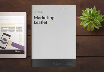 Marketing Booklet Layout with Yellow Accents