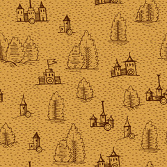 Vector seamless pattern. Example design elements to make your own fantasy or treasure maps. Includes city, forest. Imitation of medieval drawings.