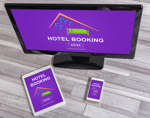 Hotel booking concept on different devices