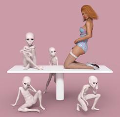 Außerirdische und posierende Frau auf einem Tisch