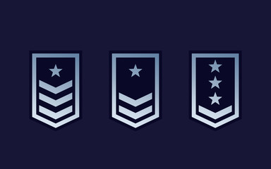 Military rank, army epaulettes set