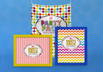 Party Framed Posters and Banners Packaging Mockup