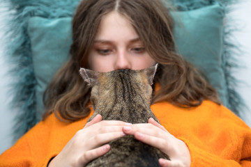 girl with a cat, cat and girl friendship