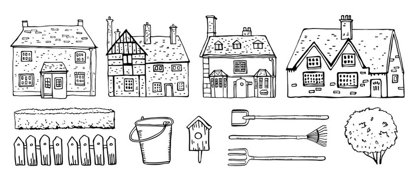 Old Europe coutryside houses, plants and  garden tools. Vector sketch outline hand drawn illustration