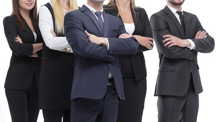 close up.professional business team standing with arms crossed.isolated on white