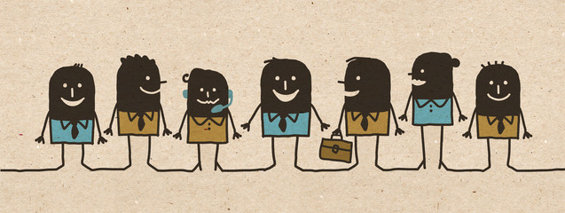 Black cartoon Business Team
