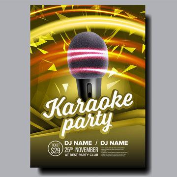 Karaoke Poster Vector. Party Flyer. Karaoke Music Night. Radio Microphone. Retro Concert. Club Background. Mic Design. Disco Banner. Voice Equipment. Realistic Illustration