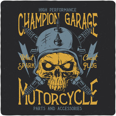 Hand drawn illustration of a biker skull and motorcycle parts. T-shirt or poster illustration with text composition.