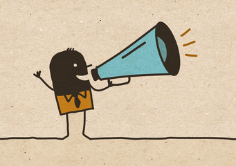 Black cartoon Man with Megaphone