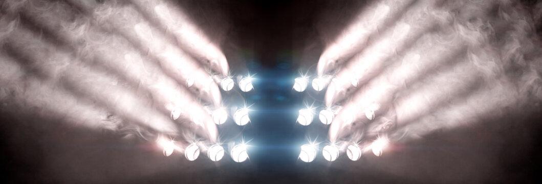 Fondo musical de conciertos y eventos. Luces de escenario y música en vivo. Focos y humo en la actuación
