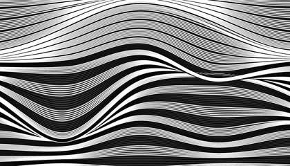 Abstract black and white wave fabric texture.