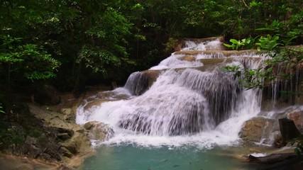 Wall Mural - Erawan waterfall national park, first level, Kanchanaburi, Thailand, Panning Right, Panning.