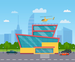 Shopping mall building. City life set with cars, helicopter, road and buildings. Vector flat style illustration.
