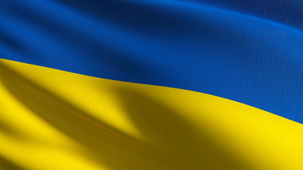 Ukraine national flag blowing in the wind isolated. Official patriotic abstract design. 3D rendering illustration of waving sign symbol.