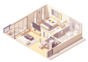 Vector isometric apartment hotel suite
