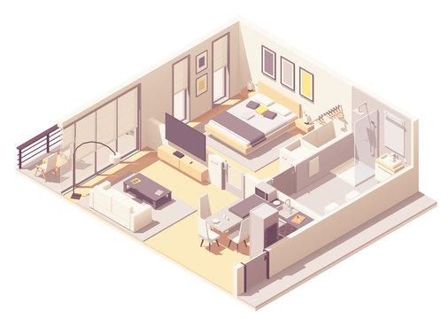Vector isometric apartment hotel suite