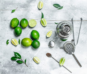 Shaker and slices of fresh lime.