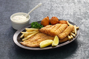 southern fried fish plate, american cuisine