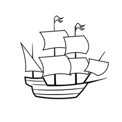 Mayflower ship outline icon. Clipart image isolated on white background