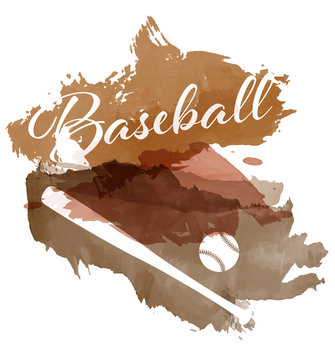 Abstract brown watercolor splashes with baseball equipment silhouettes