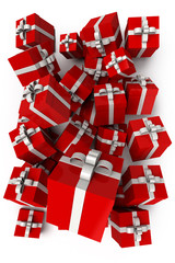 Red presents with white bows