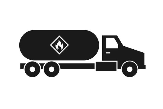 Propane truck silhouette icon. Clipart image isolated on white background