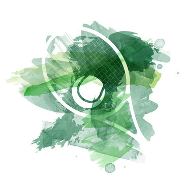 Abstract green watercolor splashes with tennis equipment silhouettes