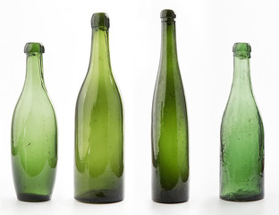 Vintage empty glass bottles with white background