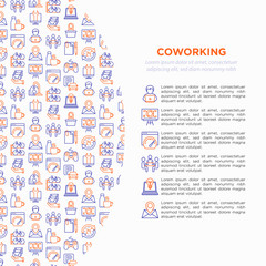 Coworking office concept with thin line icons: workplace, meeting room, conference hall, smart office, parking, reception, legal address, fast internet, 24 hour access. Vector illustration.