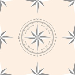 Seamless pattern with compas and roses of winds for your design