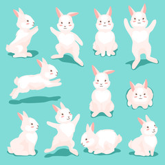 Set of cute Easter Bunnies.