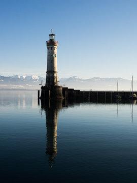 LINDAU, GERMANY - Lighthouse at port of Lindau harbour, Lake Constance, Bavaria, Germany